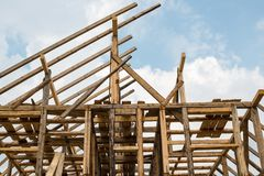 Wooden framing of the new house Royalty Free Stock Images