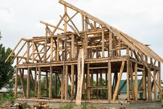 Wooden framing of the new house Stock Images