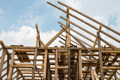 Wooden framing of the new house. Wooden framing of the new residential house stock images