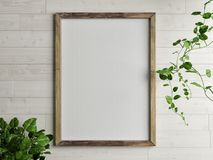 Wooden free frame with green plant on wooden wall. 3d render, 3d illustration Stock Photos