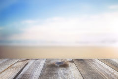 Wooden free space on table and summer sea landscape royalty free stock image
