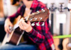 Wooden fretboard of guitar Royalty Free Stock Photography