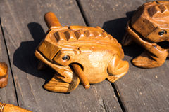 The wooden frog Stock Photography