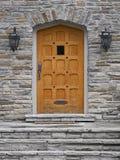 Wooden front door of house Stock Photo