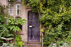 Wooden front door of old stone brick house Stock Photos