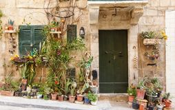 Wooden front door to the house. Green wooden front door to the house in the Mediterranean Royalty Free Stock Photo