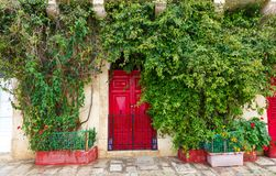 Wooden front door to the house. Red wooden front door to the house in the Mediterranean Stock Images