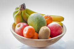 Wooden Fruit Bowl. A Large Wooden Fruit Bowl Royalty Free Stock Photos