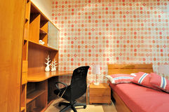 Wooden furniture in bedroom. Wooden furniture in bedding room interior, with simple and clean style, mostly for children or young people Stock Photography