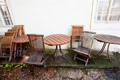 Wooden furniture from the cafe Royalty Free Stock Images