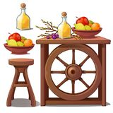 Wooden furniture in country style, liqueur and fruits. Vector Illustration in cartoon style isolated on white. Background Royalty Free Stock Photo