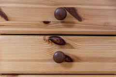 Wooden furniture drawer. Close up shot of two wooden drawers Royalty Free Stock Image