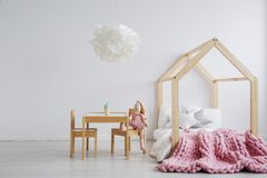 Wooden furniture for girl`s room. Simple but cute wooden furniture for girl`s room Royalty Free Stock Images