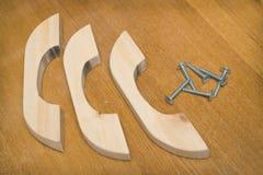 Wooden furniture handles, made of alder Stock Image