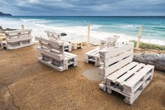Wooden furniture made of cargo pallets Royalty Free Stock Photography