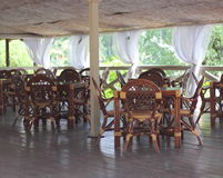 Wooden furniture on the summer terrace Stock Images