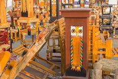 Wooden furnitures, handicraft items on display , Kolkata Stock Images