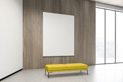 Wooden gallery with poster and bench. Vertical mock up poster hanging in modern gallery interior with wooden and white walls, concrete floor, wooden ceiling vector illustration