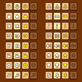 Wooden game icons buttons icons, interface, ui Stock Photo