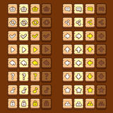 Wooden game icons buttons icons, interface, ui stock illustration