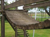 Wooden gangway for kids. Close-up of a wooden gangway for kids Royalty Free Stock Photos