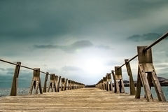 Wooden gangway and sky background Royalty Free Stock Photography