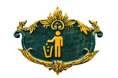 Wooden Garbage Sign. Carved Wood of Garbage Sign Stock Images
