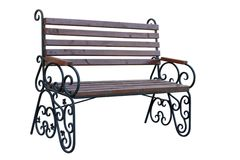 Wooden garden bench Royalty Free Stock Images
