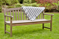 Wooden garden bench Stock Photos
