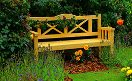 Wooden garden bench Stock Photography