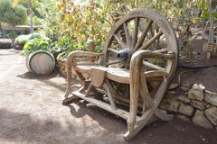 Wooden garden bench. Made from the wheel Stock Photo