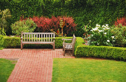 Free Wooden Garden Benches Royalty Free Stock Photography - 20234087