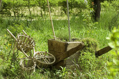 Wooden garden cart Stock Images