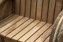 A wooden garden chair seat in a detail royalty free stock photos