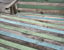Wooden garden chair and table stock images