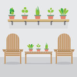 Wooden Garden Chairs And Pot Plants Stock Photos