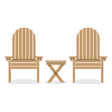 Wooden Garden Chairs And Table Royalty Free Stock Photography