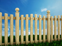 Wooden garden fence. Against the blue sky Stock Photography