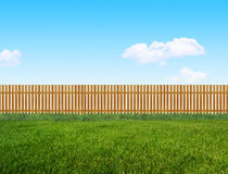 Wooden garden fence Stock Photo