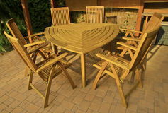 Wooden garden furniture Royalty Free Stock Photos