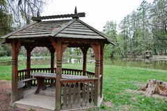 Wooden garden house pavilion at park Stock Images