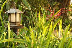Wooden garden lamp Stock Images