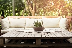 Wooden garden lounge chair with cushion and small cactus on the. Table in the garden with sunlight stock photo