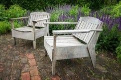 Wooden Garden Seat-England-UK Stock Image