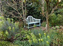 Wooden garden seat in Spring Royalty Free Stock Photos