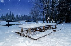 Wooden garden set from table and benches in a winter. Sonnenberg, Germany royalty free stock photos