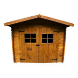 Wooden Garden Shed (Isolated). Wide angle view of a Shed, isolated on white Royalty Free Stock Images
