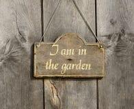 Wooden garden sign Stock Photo
