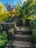 Wooden garden stairs Royalty Free Stock Photography