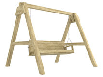 Wooden garden swing bench Stock Photo